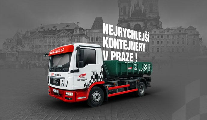 Velké řetězové/vanové kontejnery. Terénní a stavební práce v centru Prahy